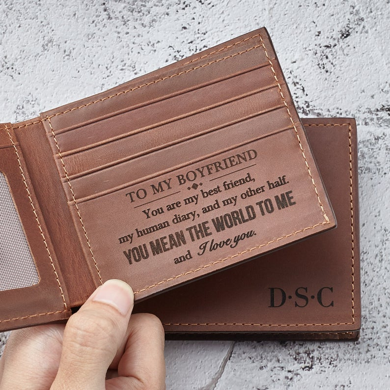 Anniversary Wallet For Boyfriend - Engraved Wallet For Him - Men Bifold Wallet - Engraved Wallet - Birthday Wallet For Him Boyfriend