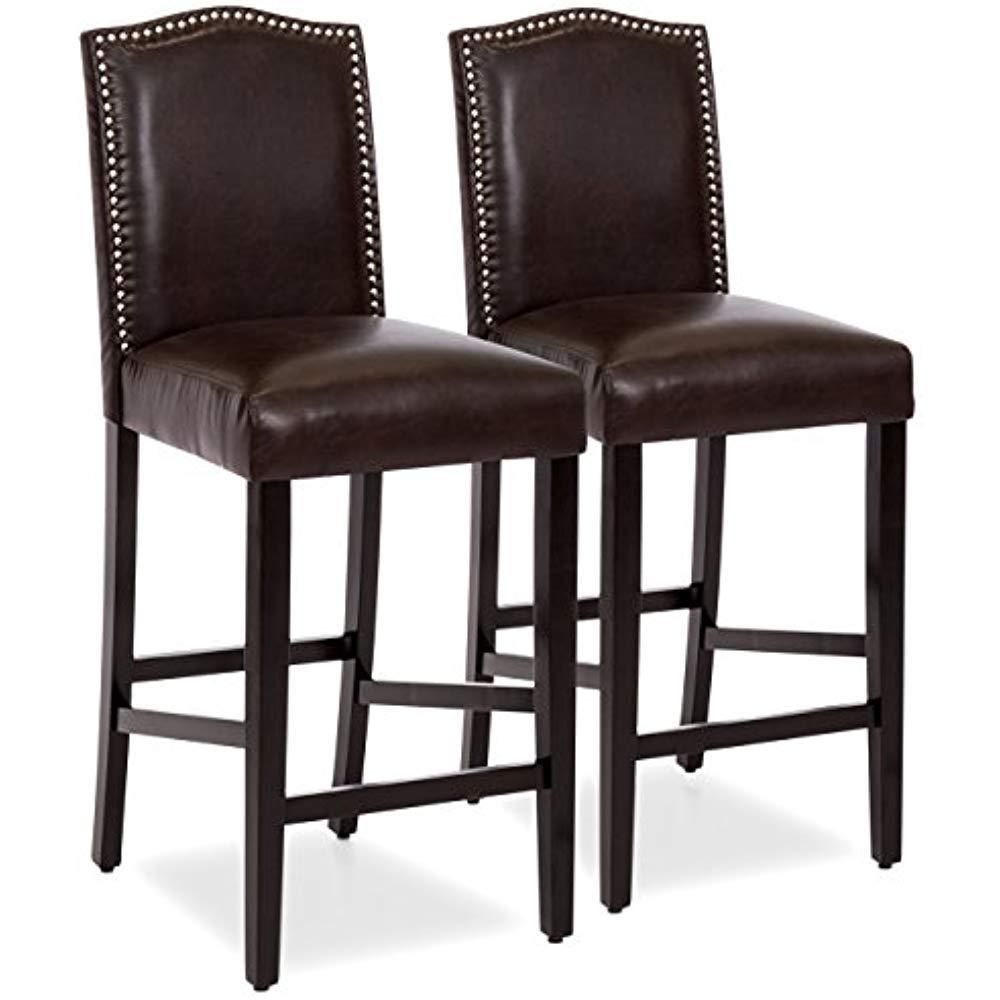 Set Of 2 30in Contemporary Studded Pu Leather Backed Barstool