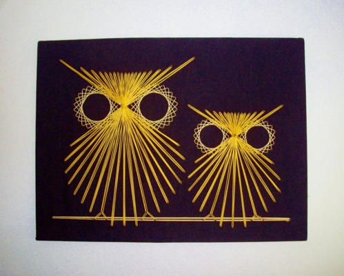 vintage string art owls 1970 39 s tableau clous et ficelle pinterest broderie art filaire et. Black Bedroom Furniture Sets. Home Design Ideas