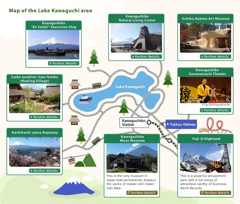 Map of the Lake Kawaguchi area TokyoJapan Pinterest Lakes