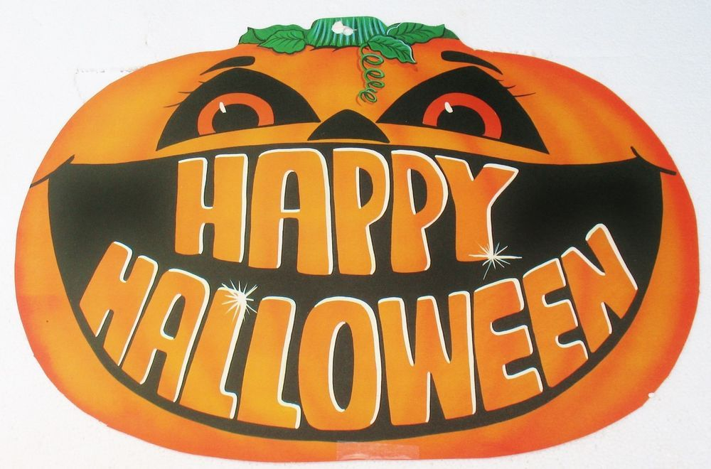 Large VTG Pumpkin Die Cut Paper HAPPY HALLOWEEN Decoration Retro
