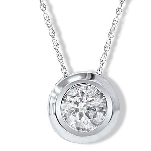 3ee21d7a13bde 14k White Gold Round 1/4ct to1ct TDW Diamond Bezel Set Rope-chain ...