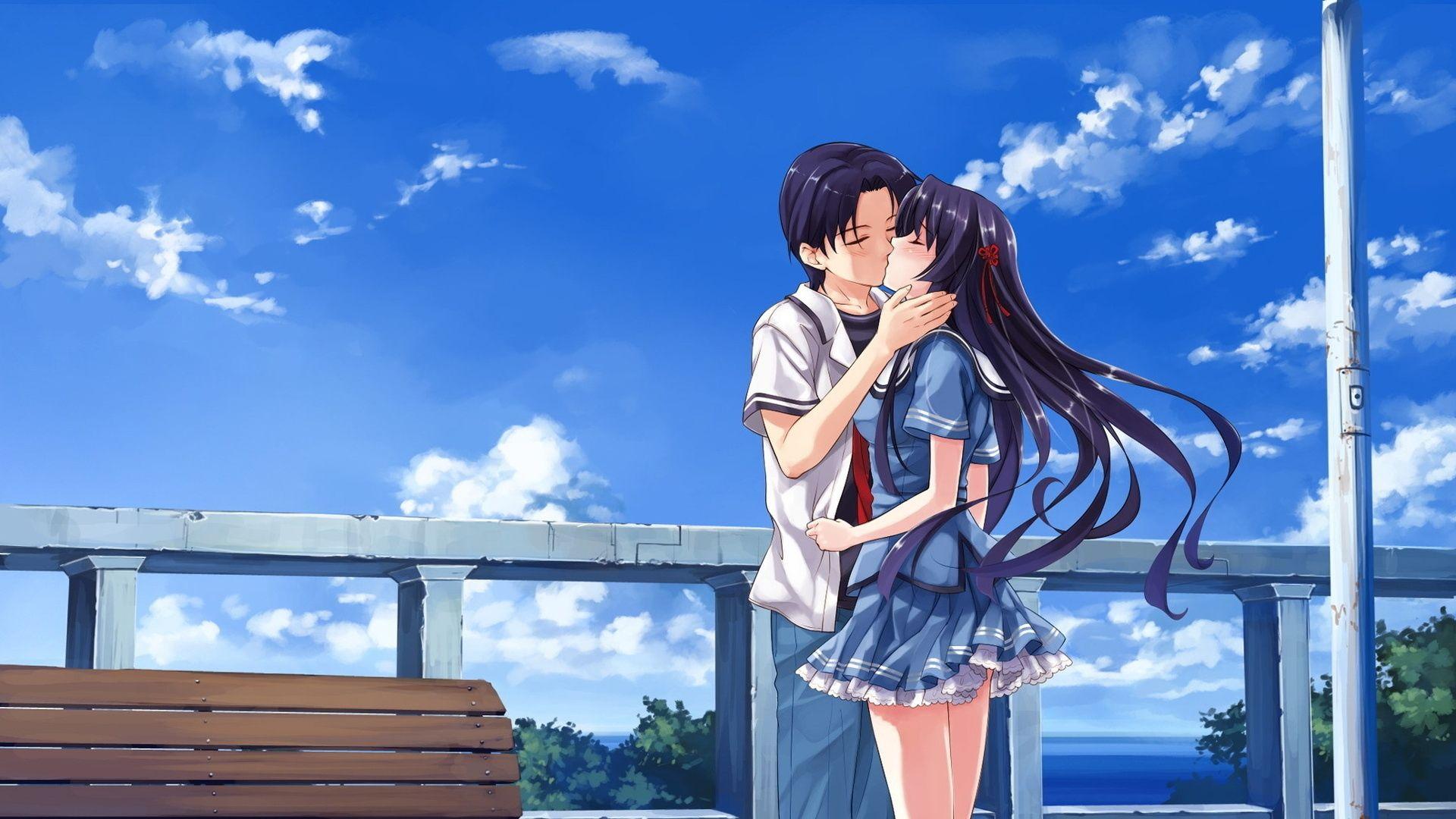 Download Wallpaper 1920x1080 Boy Girl Kiss Sunset Flowers Full Hd 1080p Hd Background Anime Deep Blue Sky Boy And Girl Kiss