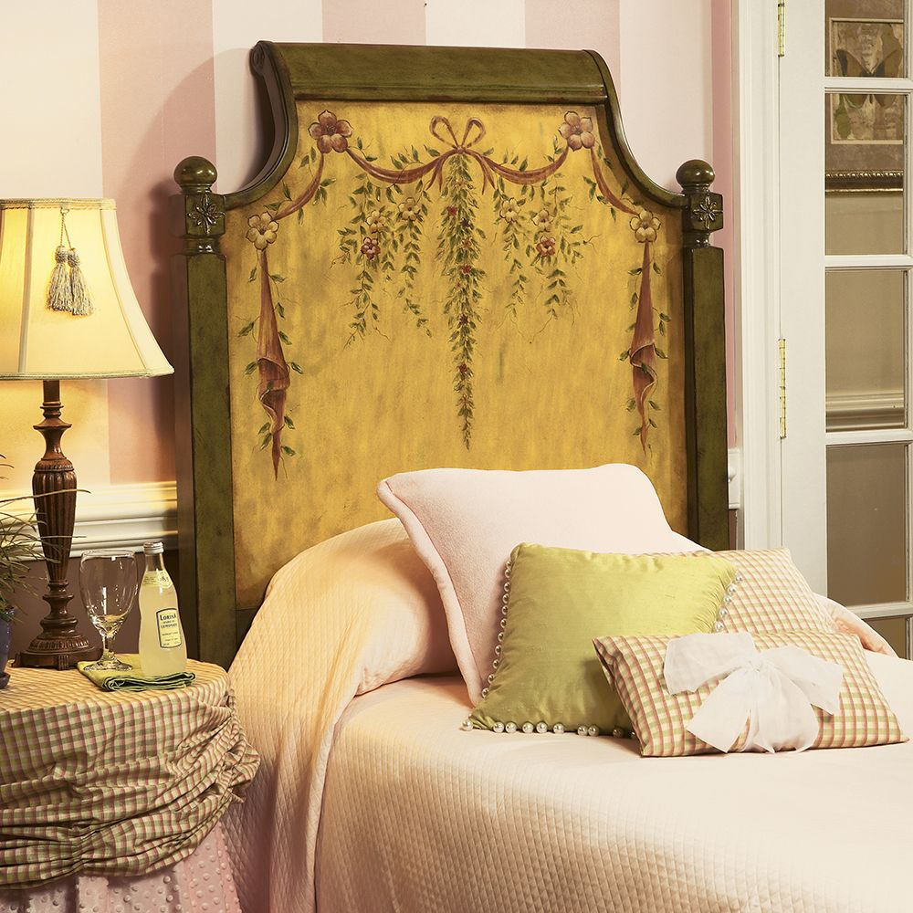 Butler Sage Green Hand Painted Headboard with Floral Designs | Beds ...