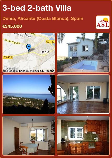 3-bed 2-bath Villa in Denia, Alicante (Costa Blanca), Spain ►€345,000 #PropertyForSaleInSpain