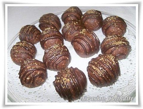 Voici des truffes au nutella sans cuisson avec des gaufrettes et de la poudre d'amande recette de truffe facile rapide des mignardises au chocolat pour Noël