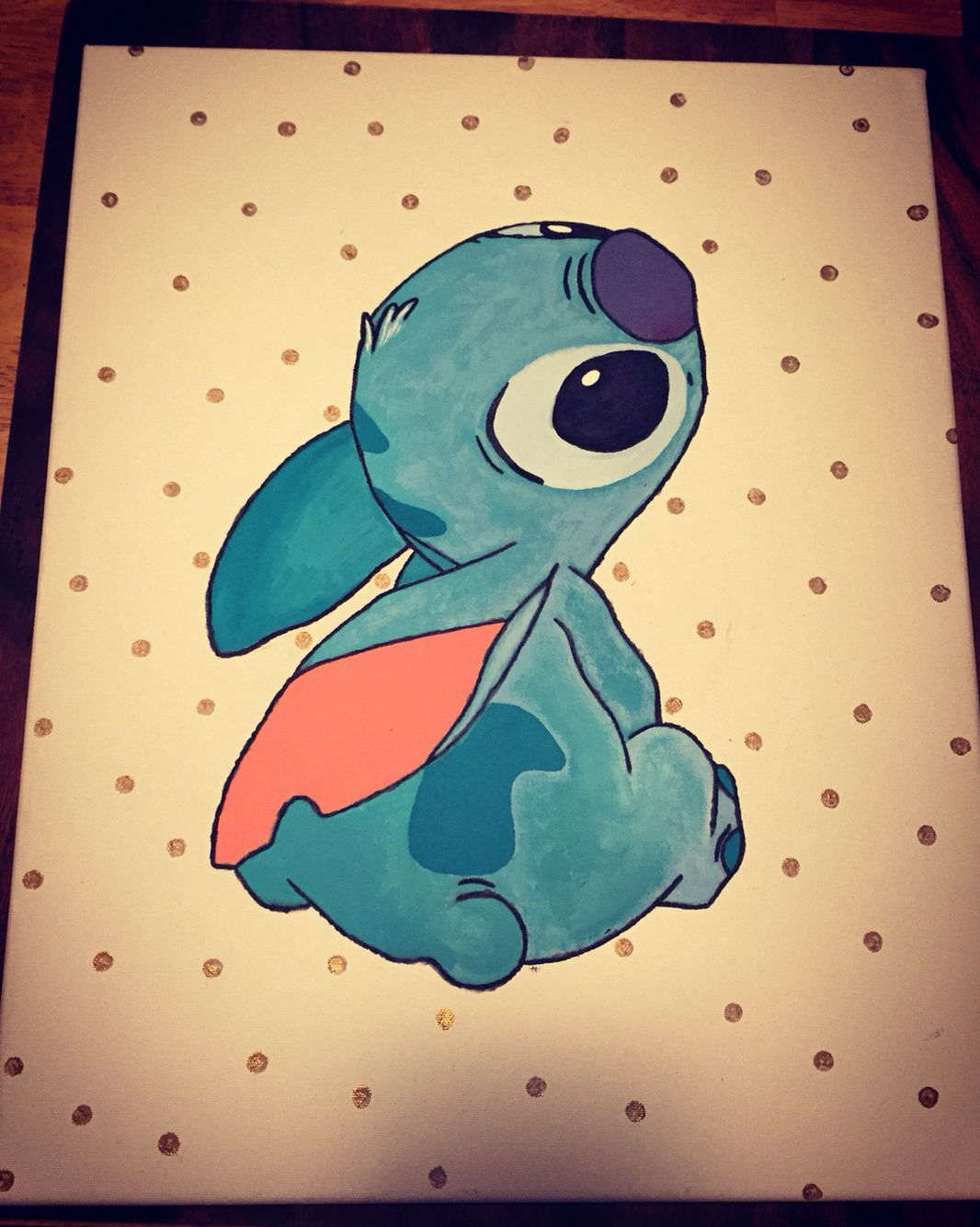 Disney S Lilo And Stitch Hand Painted 16x20 Canvas I Made It Also Glows In The Dark Disney Canvas Art Disney Canvas Cute Canvas Paintings