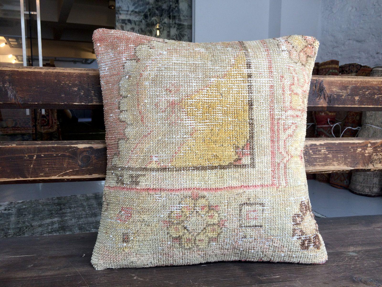 16 X16 Beige Yellow Handmade Decorative Small Sofa Pillow