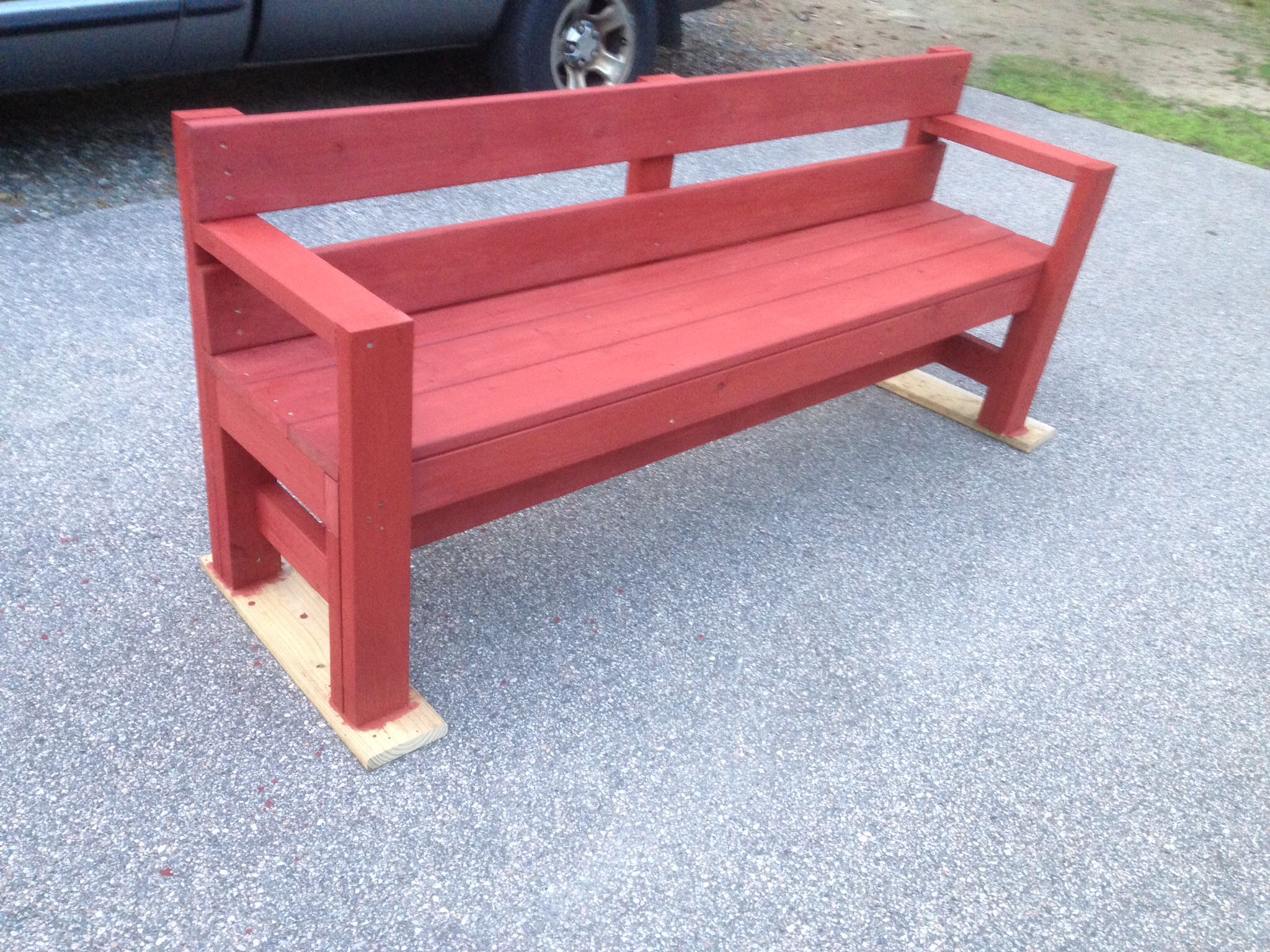 Outdoor Bench With Color Added I Used Ace Brand Redwood