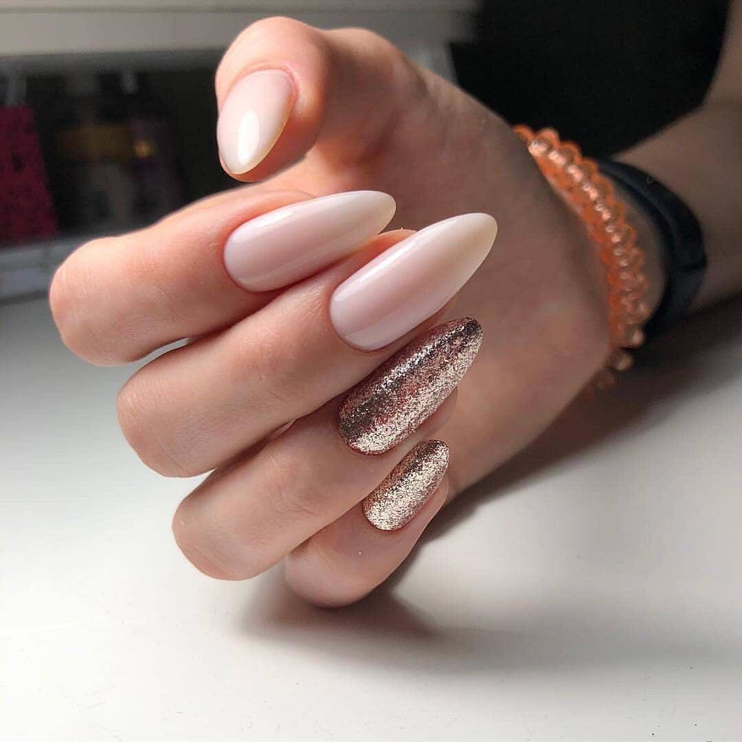 Mix pink and glitter nail art design