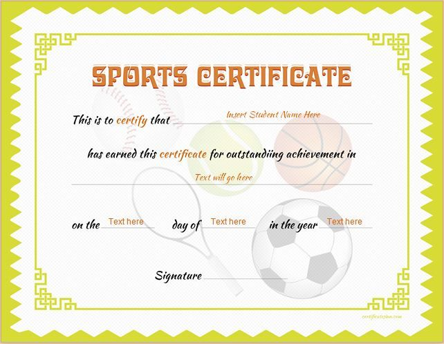 sports certificate  Sports Certificate Template for MS Word DOWNLOAD at http ...