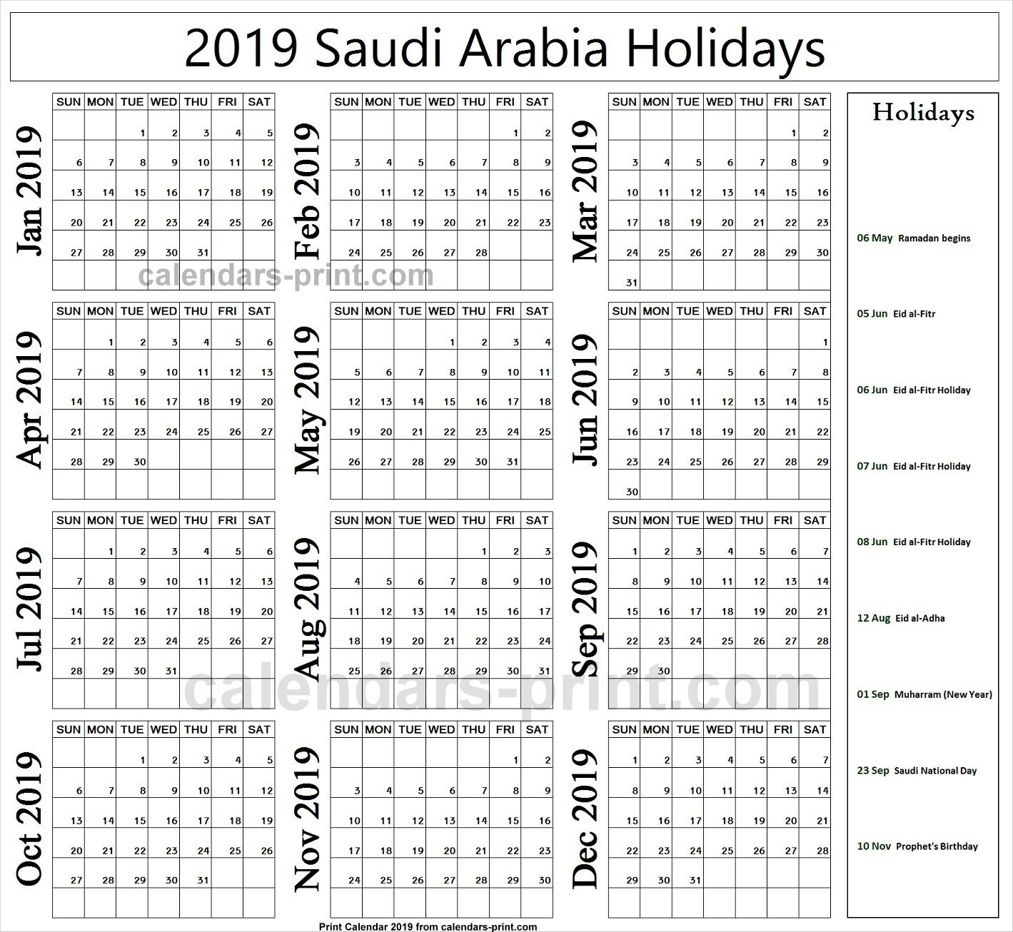 2019 Bank Holidays Saudi Arabia Holiday Calendar Holiday Calendar Printable Year Calendar Planner