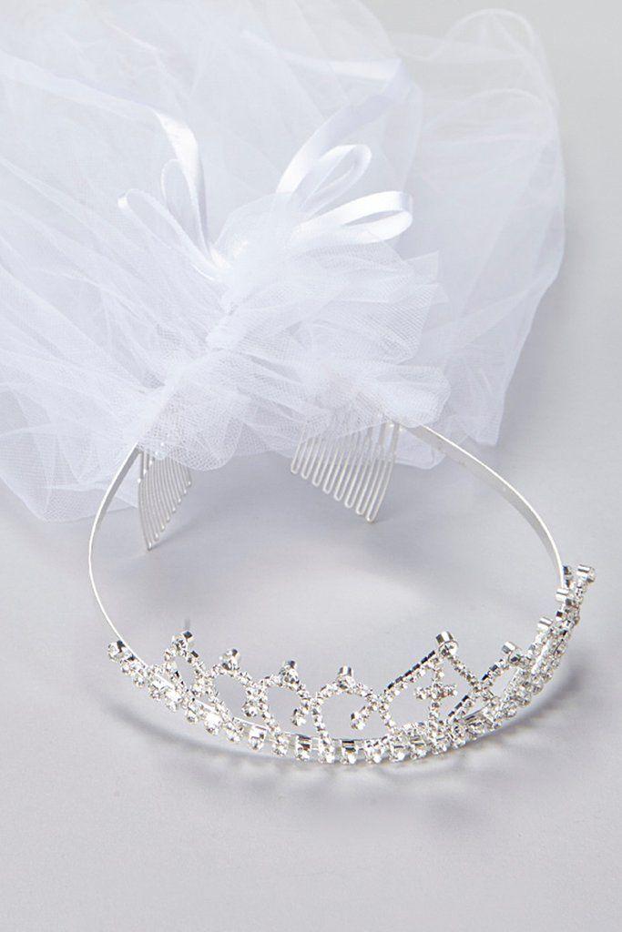 Rhinestone Crown Tiara w. Cross & White Tulle Communion Veil #crowntiara
