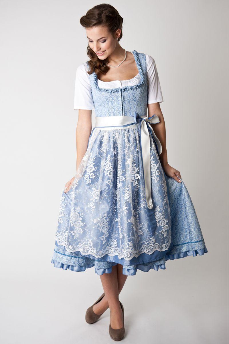 1041486e3d273 BELLE Trachten Dirndl Candice, midi, light blue/ white | dirndl ...