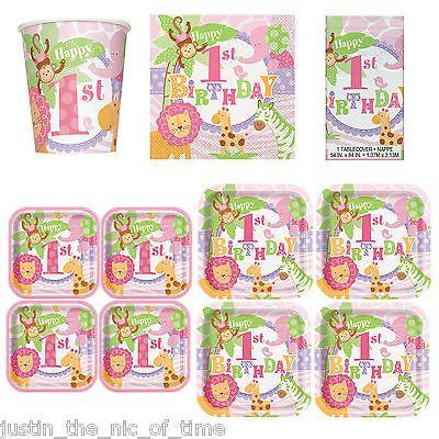 1st first #birthday girl pink #party supplies #tableware girls animal safari View  sc 1 st  Pinterest & 1st first #birthday girl pink #party supplies #tableware girls ...