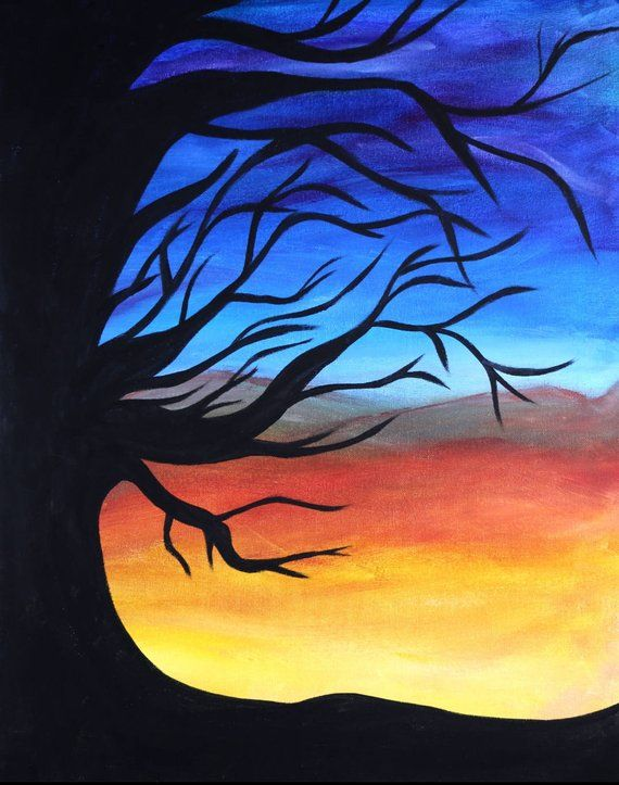 Sunset Silhouette Sunset Painting Silhouette Painting Silhouette Art