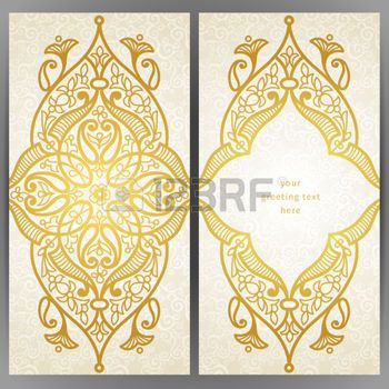 ISLAMIC BORDER: Vintage tarjetas adornadas en estilo oriental. Decoración floral oriental de oro. Marco de plantilla de tarjeta de felicitación y la invitación de la boda. Vector de la frontera adornado y lugar para el texto. Vectores