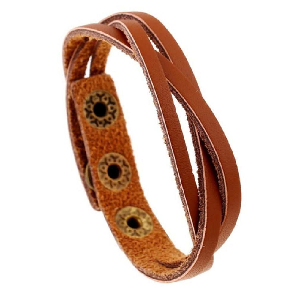 New leather wrap braided wristband cuff punk men women bracelet