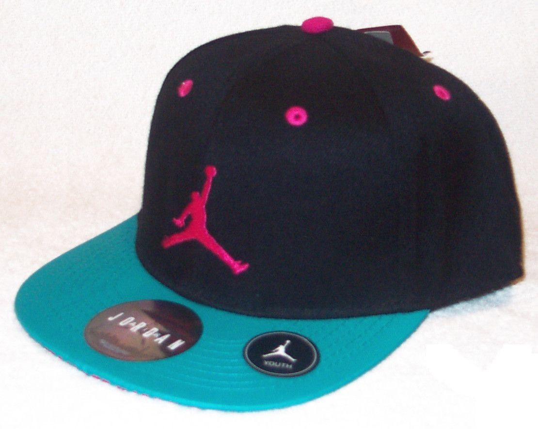 37cdf54cbf0 NIKE Air Jordan True Jumpman Youth Black Teal Pink Snapback Hat ...