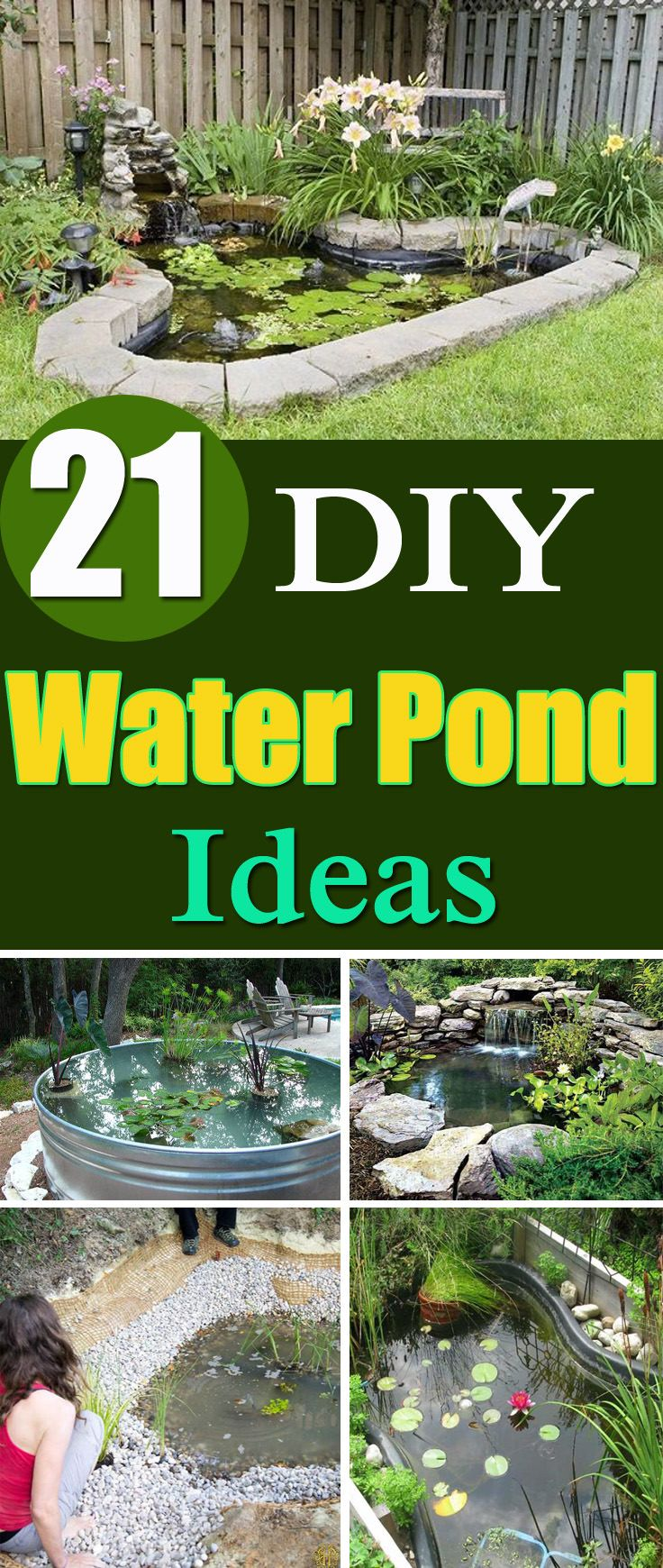21 DIY Water Pond Ideas is part of Ponds backyard, Pond landscaping, Water features in the garden, Water garden, Diy pond, Diy ponds backyard - If you've got a backyard and adding a water feature is your dream, follow it by trying one of these DIY Water Pond Ideas!
