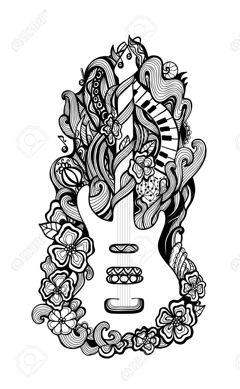 Guitar Cool Coloring Pages Bear Coloring Pages Mandala Coloring Pages