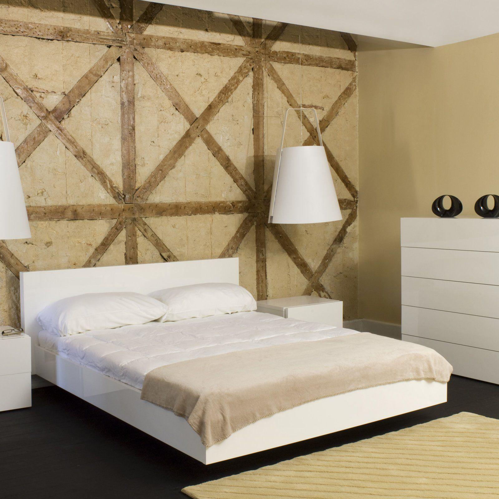 Contemporary bed. White platform bed, Modern bedroom set