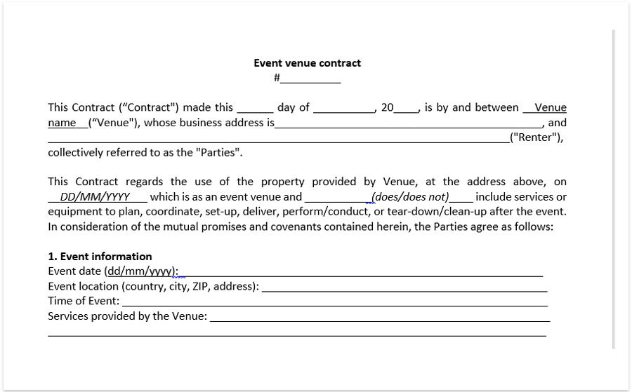 Event Venue Contract Template Download A Free Pdf Venue Within Wedding Venue Business Plan Te Contract Template Event Planner Contract Event Planning Contract
