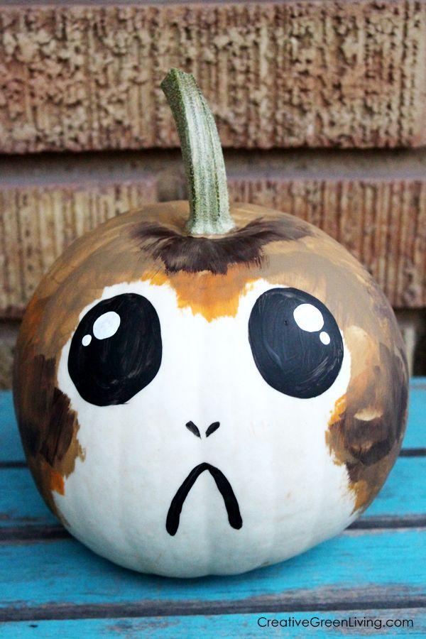 star wars halloween craft porg pumpkins star wars star wars halloween star wars star wars. Black Bedroom Furniture Sets. Home Design Ideas
