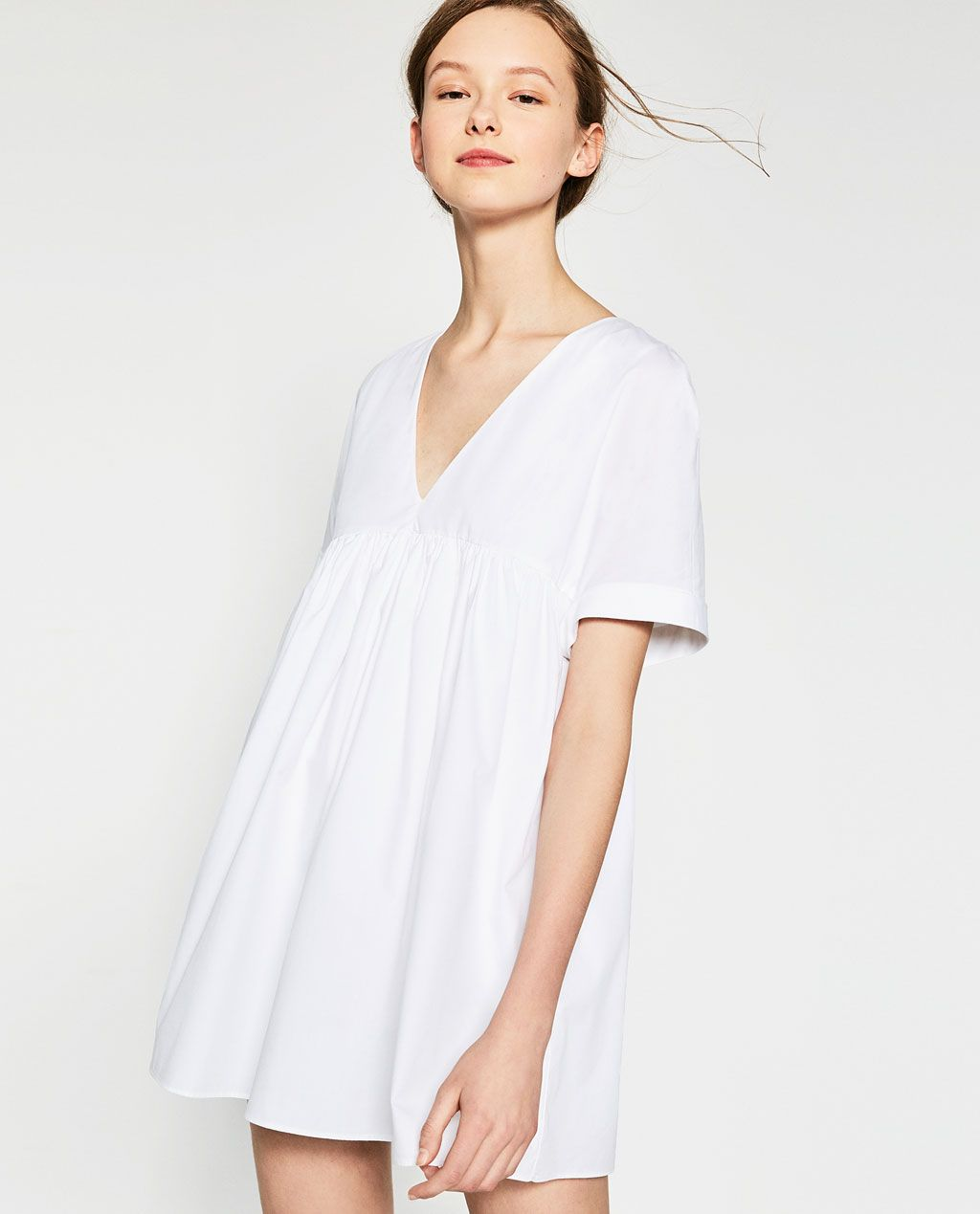 White dress at zara - Poplin Jumpsuit Dress View All Dresses Woman Sale Zara United States