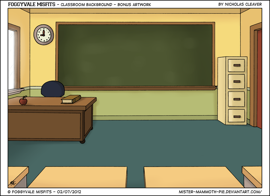 Cartoon Classroom Background With Students Images