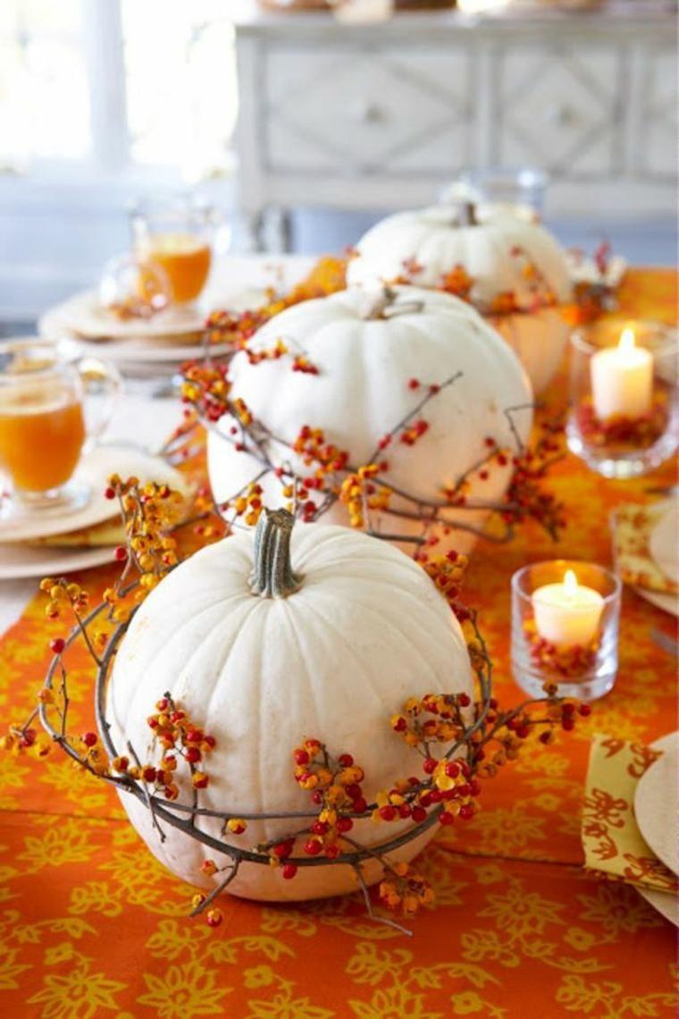 Deco De Table Bougie décoration de table d'automne avec des citrouilles et des