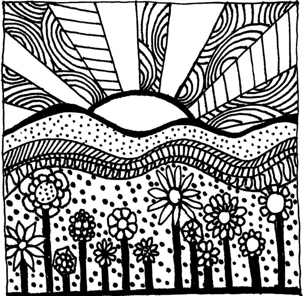 Zentangle sunset coloring sheet coloring drawing and for Sunset coloring pages for adults