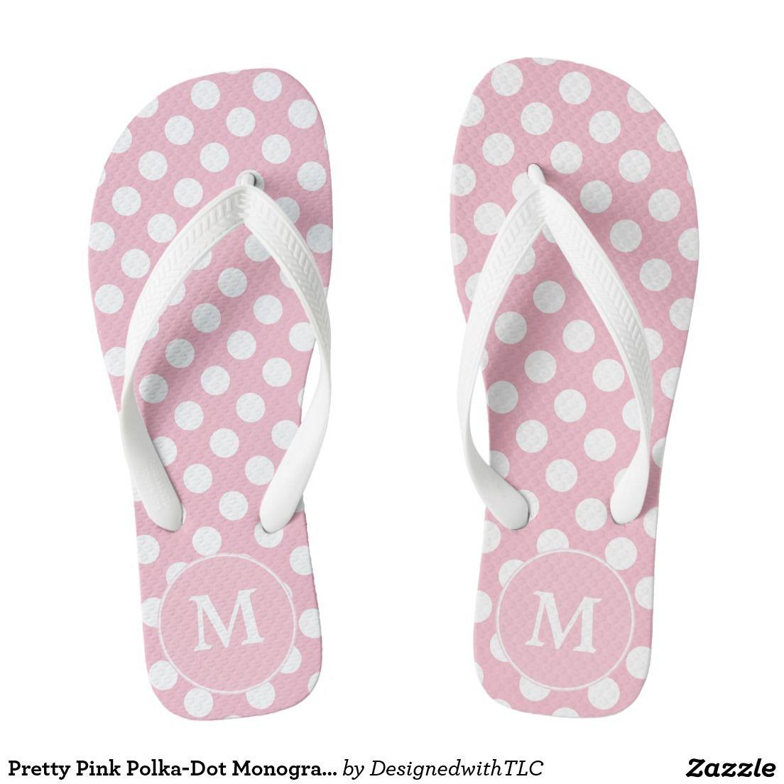 9b99c7ee0 Pretty Pink Polka-Dot Monogrammed Flip-flops Flip Flops