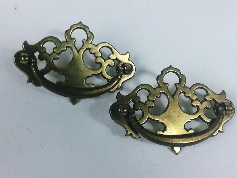 2 Brass Drawer Pulls Furniture Handles Kbc N4381 4382 8099 Kbc