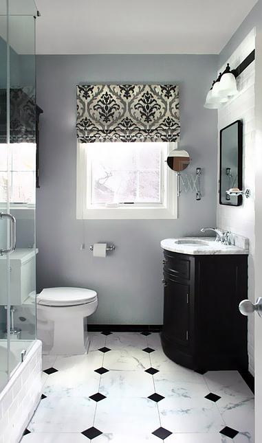 Classic bathroom. Black and white tiles floor. Damask ...