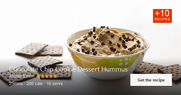A healthy dessert hummus naturally sweetened up with peanut butter and chocolate for those late night …. Available via joaniesimon.com. #desserthummus