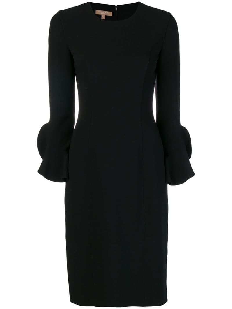 Michael Kors Collection Long Sleeve Fitted Dress Farfetch Long Sleeve Fitted Dress Corporate Dress Black Dress Outfit Casual [ 1067 x 800 Pixel ]