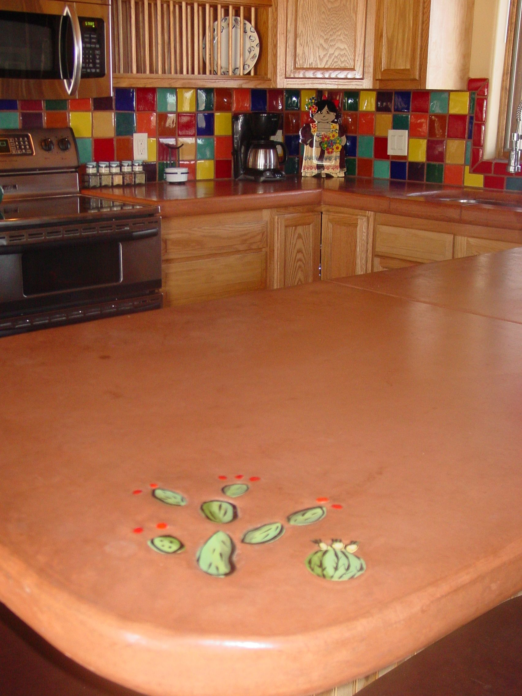 Concrete Counter Tops With Tile Inlay Backspalsh Is Mexican Tile Concrete Countertops Kitchen Diy Concrete Countertops Cheap Countertops