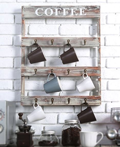 Coffee Mug Rack - Wood with 12 Metal Hooks, Coffee Mug Displays