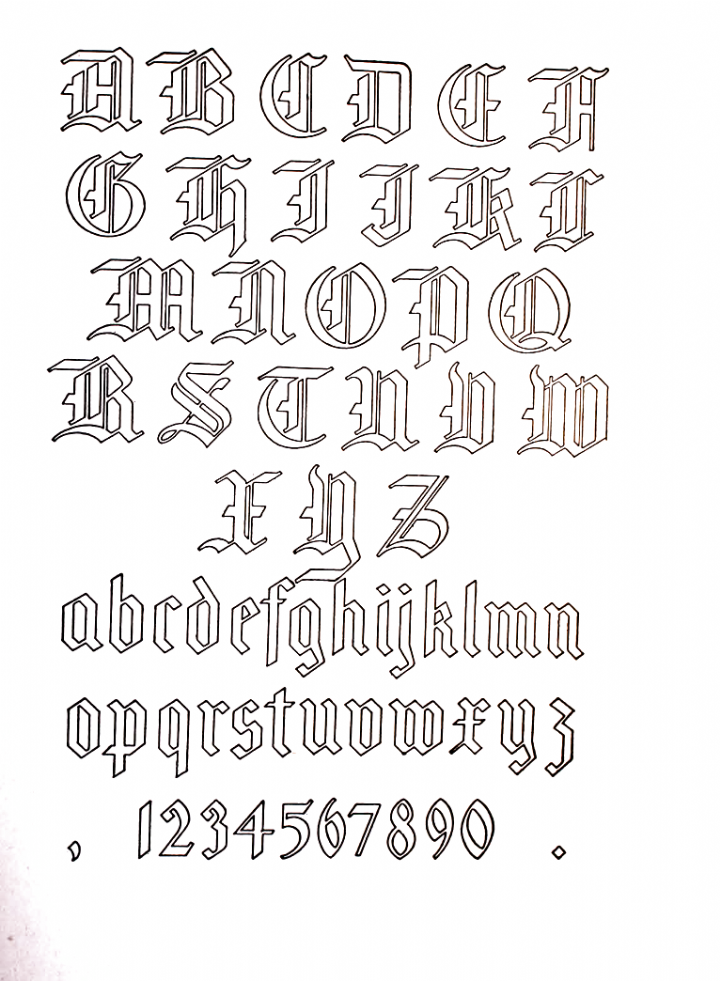 Old English Gothic Letters Letters In 2020 Gothic Lettering Tattoo Script Fonts Lettering