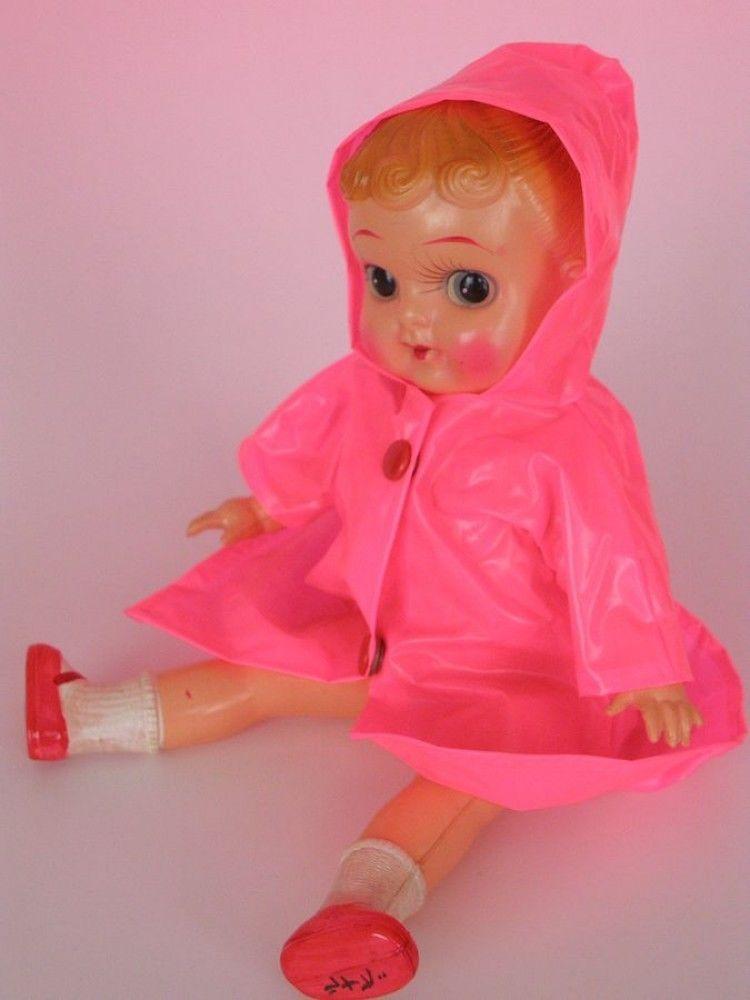 Vintage 1940 50 Celluloid Japanese Doll Vinyl Pink Raincoat Very Rare 10 Inch Pink Raincoat Japanese Dolls Raincoat