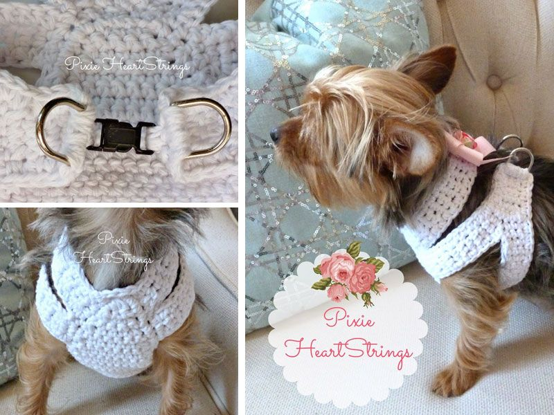 A Crocheted Dog Harness For Your Tiny Dog Free Pattern Dog