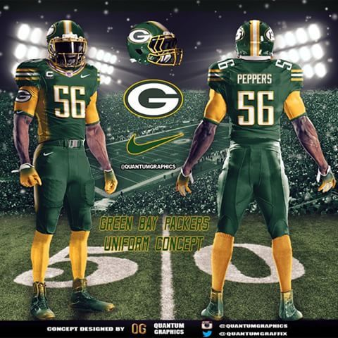 Green Bay Packers Uniform Concept I Decided To Go With The Green On Green For This Packers Green Bay Packers Funny Green Bay Packers Green Bay Packers Crafts