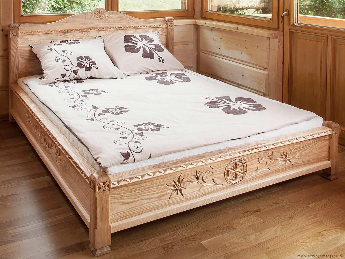 łóżko Drewniane Góralskie Rzeźbione Jesionowe Cabin In