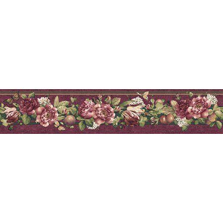 Mini Floral Wallpaper Border, Purple