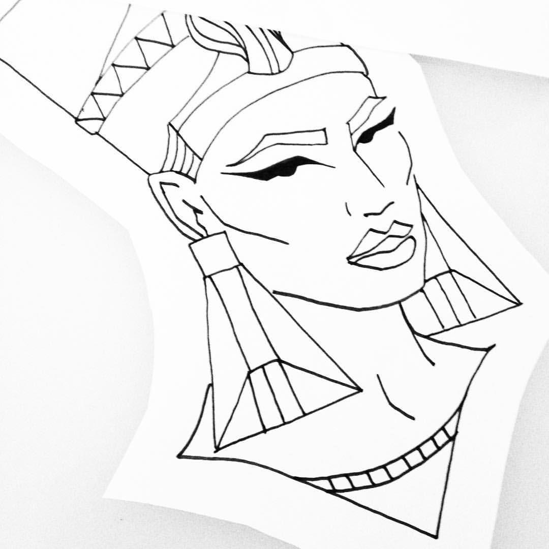 Queen Nefertiti And Rose Tattoo Designs » Tattoo Ideas |Nefertiti Tattoo Drawing