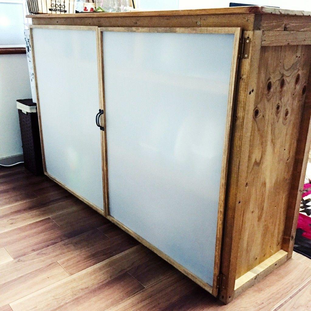 オープン食器棚に扉を作りました 食器棚 Diy 作り方 食器棚 Diy