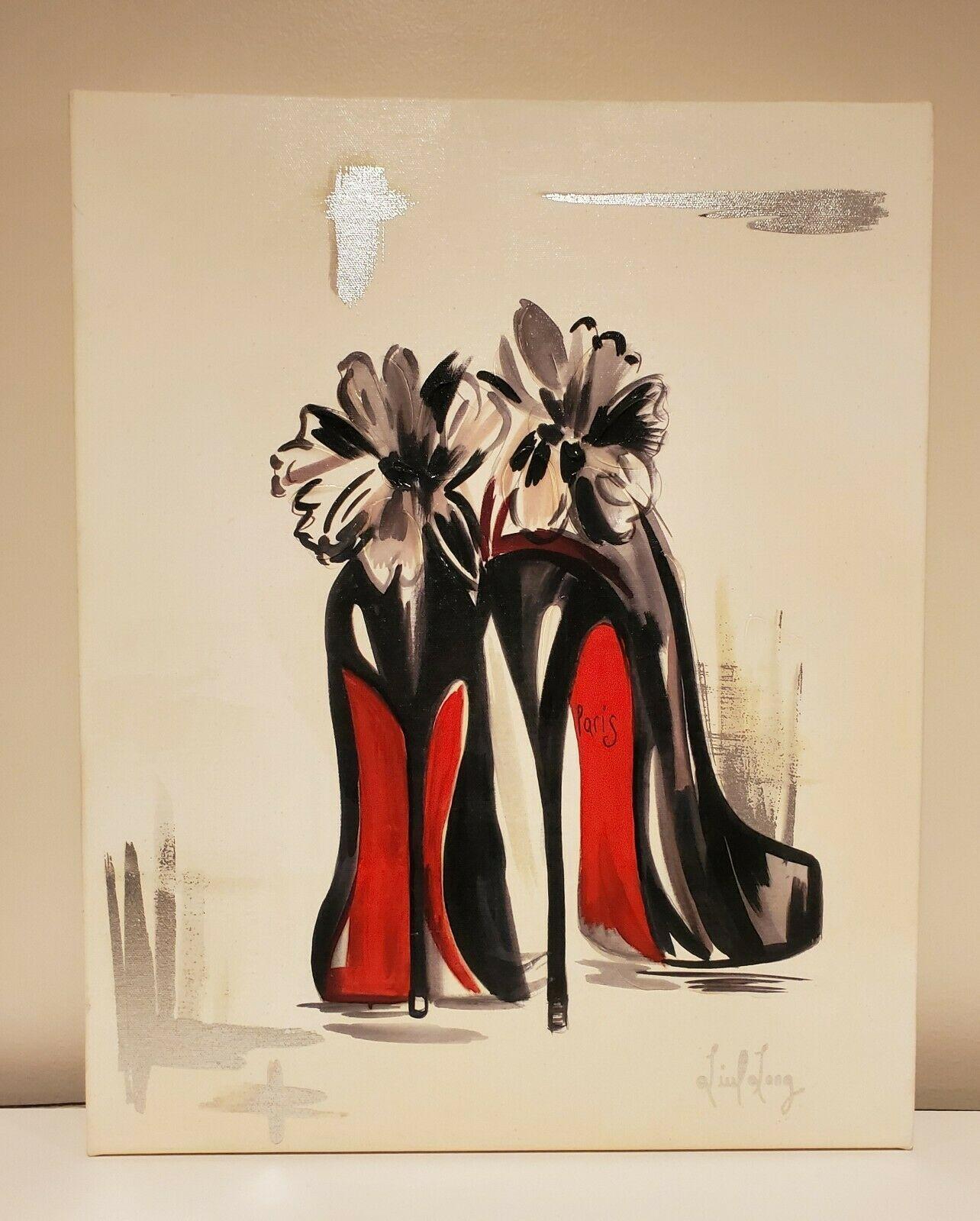 Fashion art rose champagne designer shoe lipstick beauty room Art