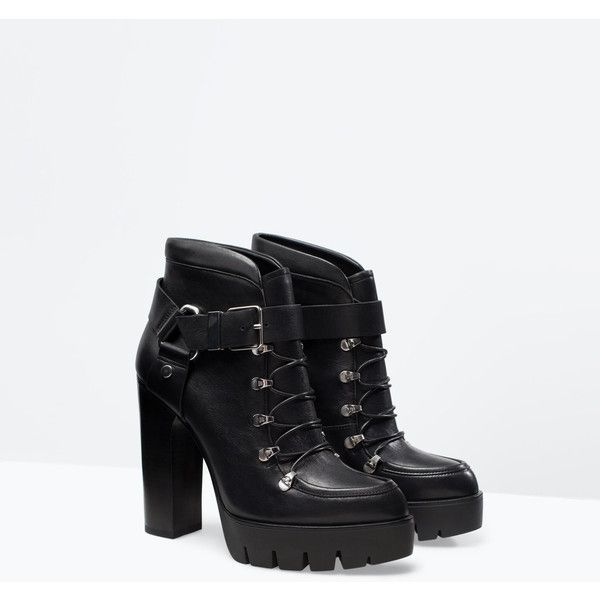 4d0506bad7dd Zara Leather High Heeled Platform Booties ( 23) ❤ liked on Polyvore  featuring shoes