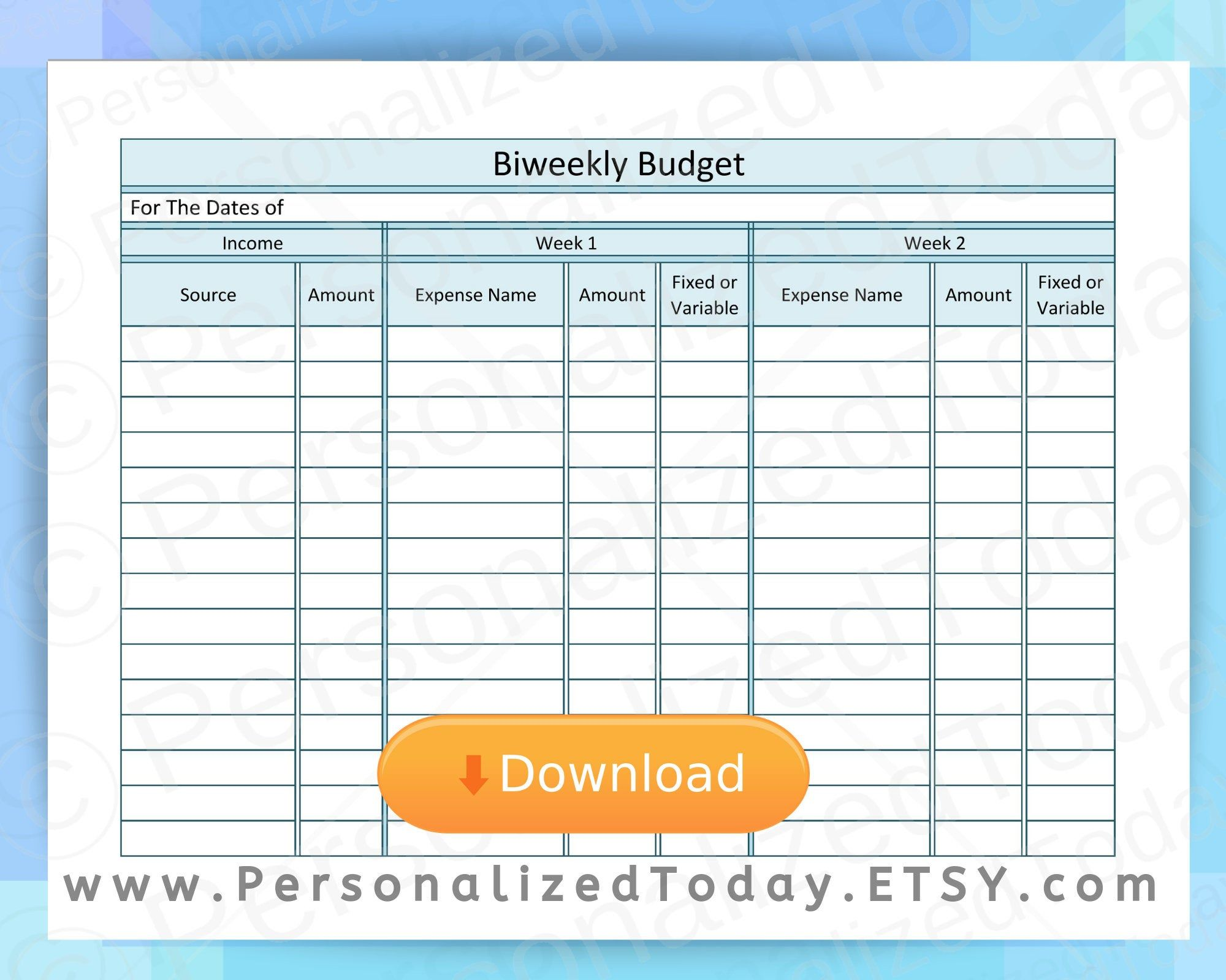 Biweekly Budget Income Amp 2 Weeks Of Expenses Printable